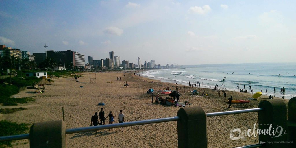 This is the beach front in Durban, a city in South Africa.