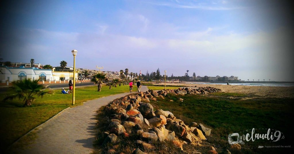 This is the beachfront of Swakopmund, a city in Namibia.