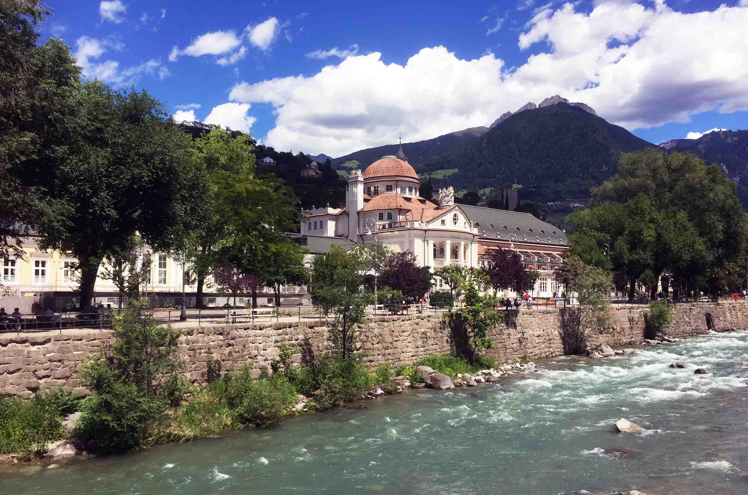 This is a bridge over the river passei in Meran, South Tyrol which is in Italy and you can see italian architecture as well.
