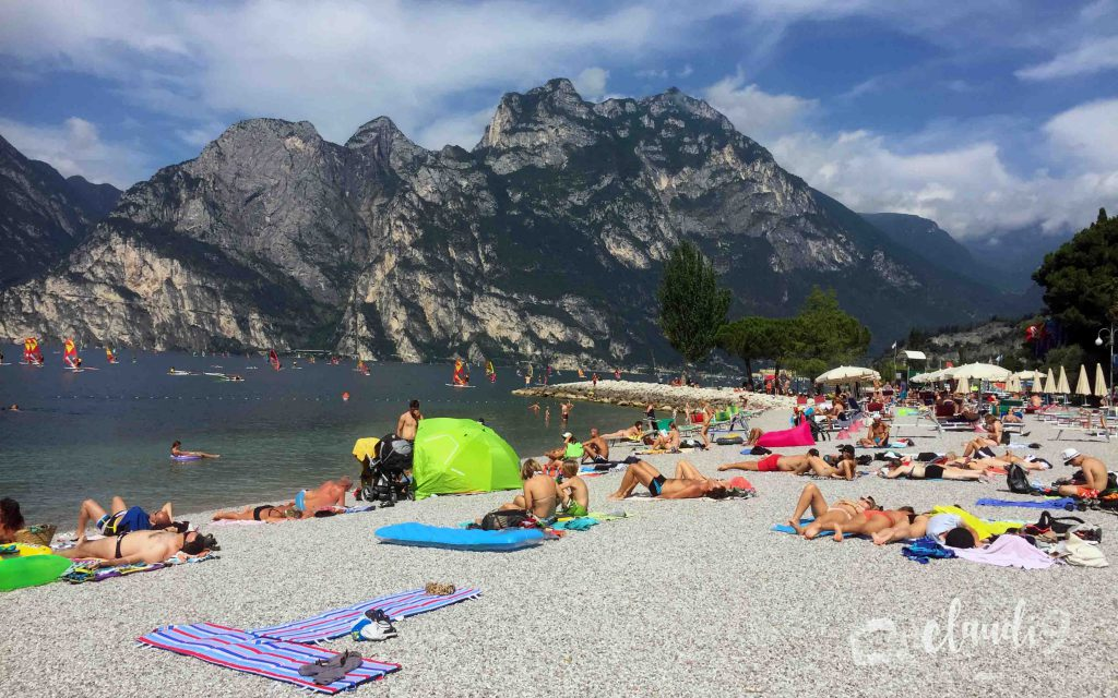 This is the beach of Lake Garda.