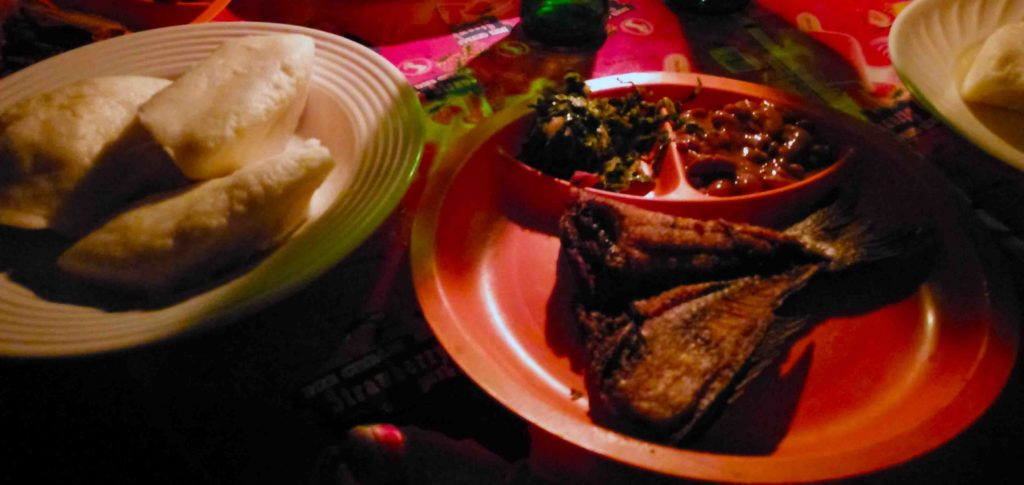 This is Butterfish and Nsima a traditional Malawian dish.