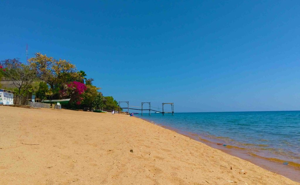 This is the beach of Lake Malawi at Cape Maclear a peninsula in the south of Malawi.