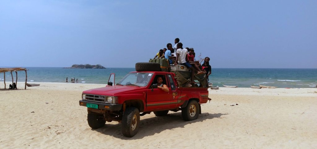 Witrh this 4 x 4 we were traveling Malawi and wild camping on the beach