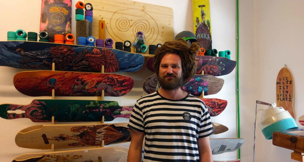 """Sebastian is the founder and owner of """"Bastl Boards"""", a company that is making skateboards and long boards in Leipzig."""