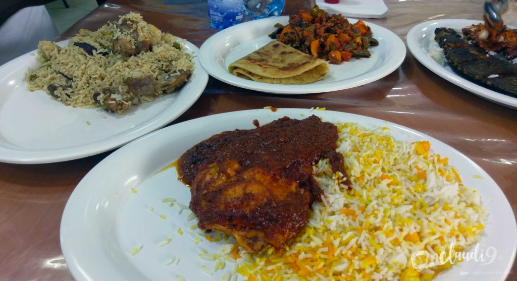 These are traditional Kenyan dishes. It is Pilau, which is spiced rice with mutton, Chicken Biryani, Chapati and vegetables and Rabbit fish with rice.