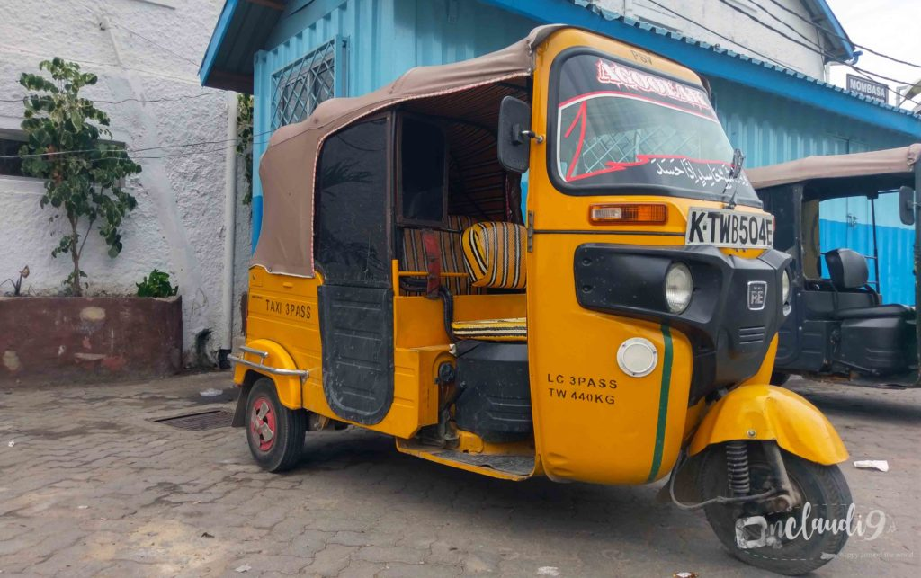 This is a Tuc Tuc, a way of getting around in Mombasa, Kenya.