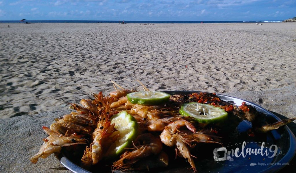 These are prawns which were prepared by a local on the street of Tofu Beach.