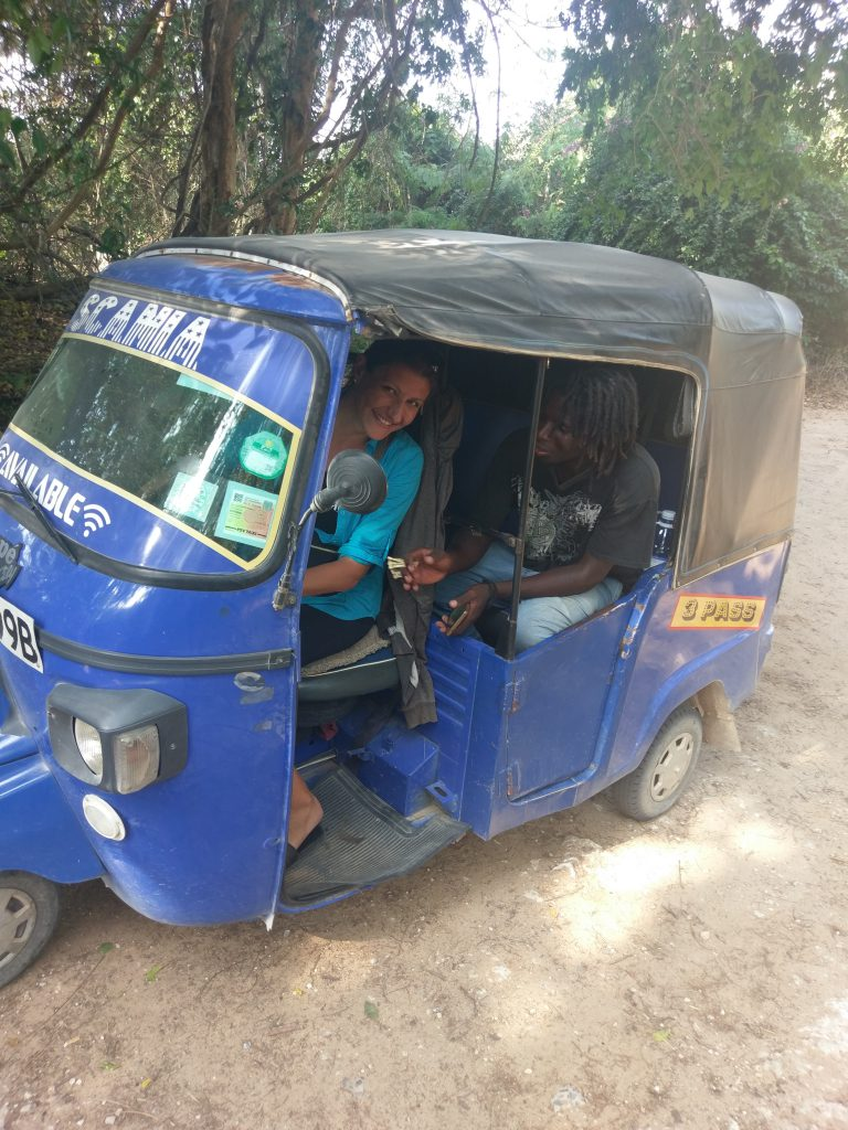 This is a Tuk Tuk, a way of transport in Kenya.