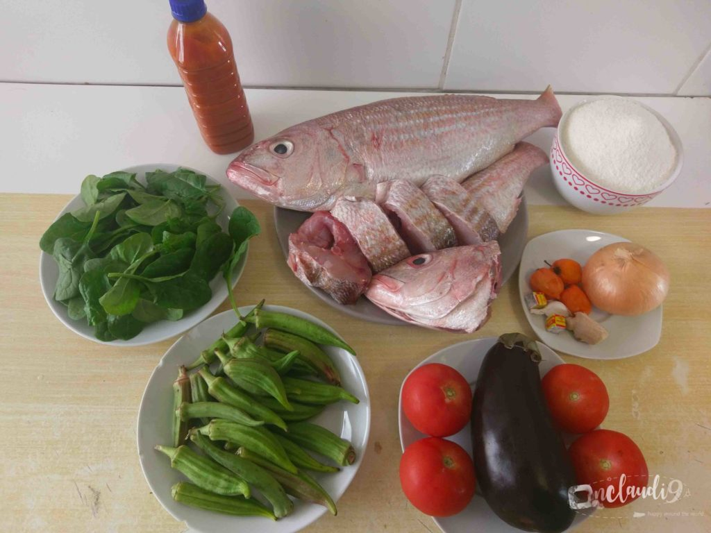 These are the ingredients for Banku and Okro Stew, a traditional Ghanaian dish.