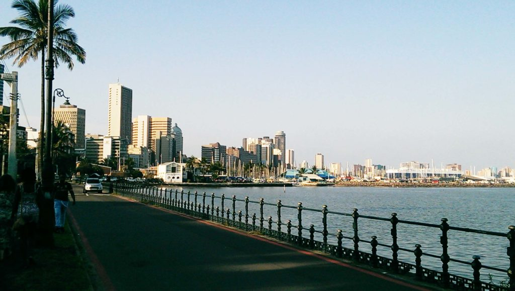 This is the harbour and beachfront in Durban. It looks like Miami in Florids with palms and skyscrapers where you can find cruiseships stopping here.