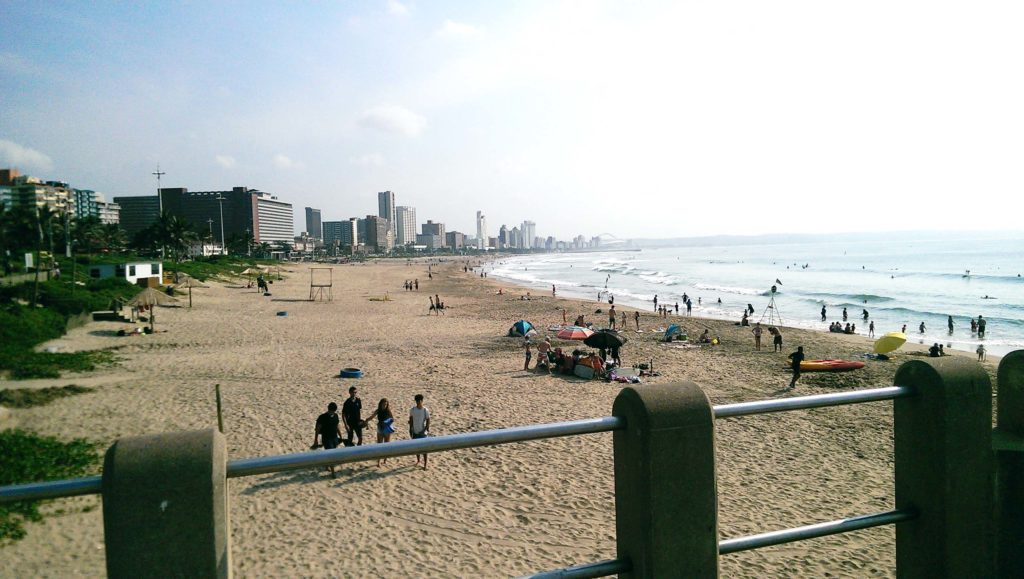 Durban Beachfront lokks like you are in Miami Florida as there are lots of Skyscrapers and palms.