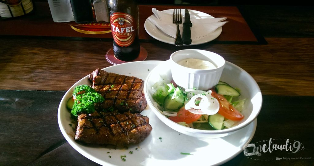 This is springbock filet, salad and a Tafel beer. I had this dish and beer in Krückis Pub in Swakopmund in Namibia.