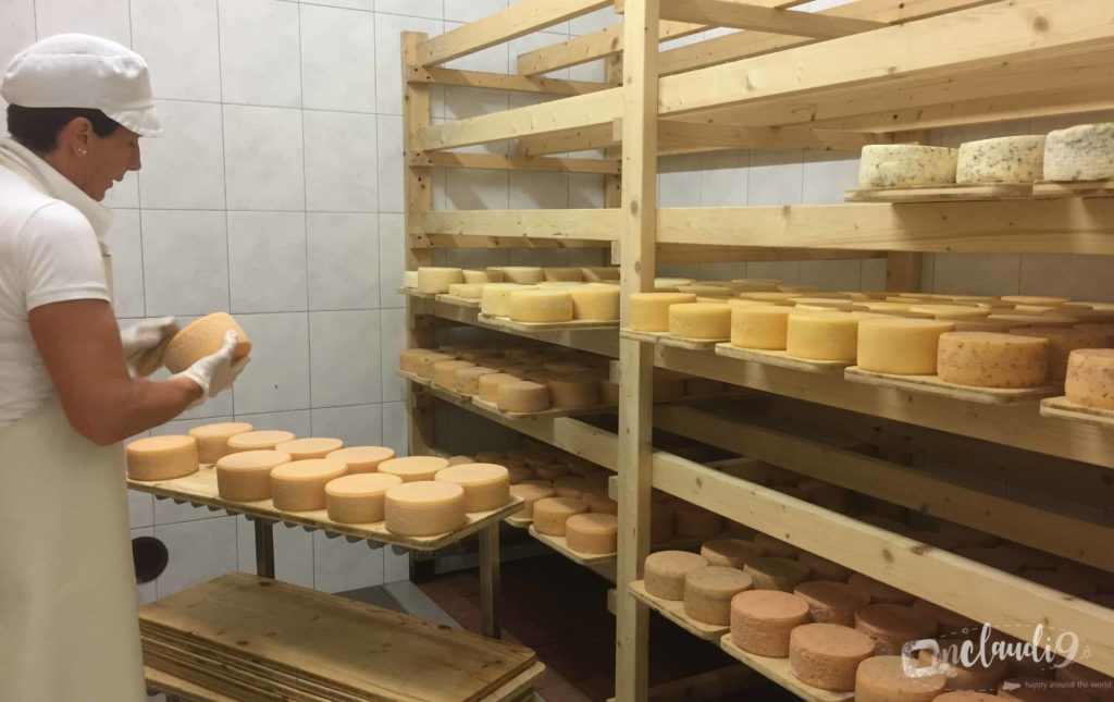 This is Sieglinde from South Tyrol Schenna making Cheese and her cheese shop.