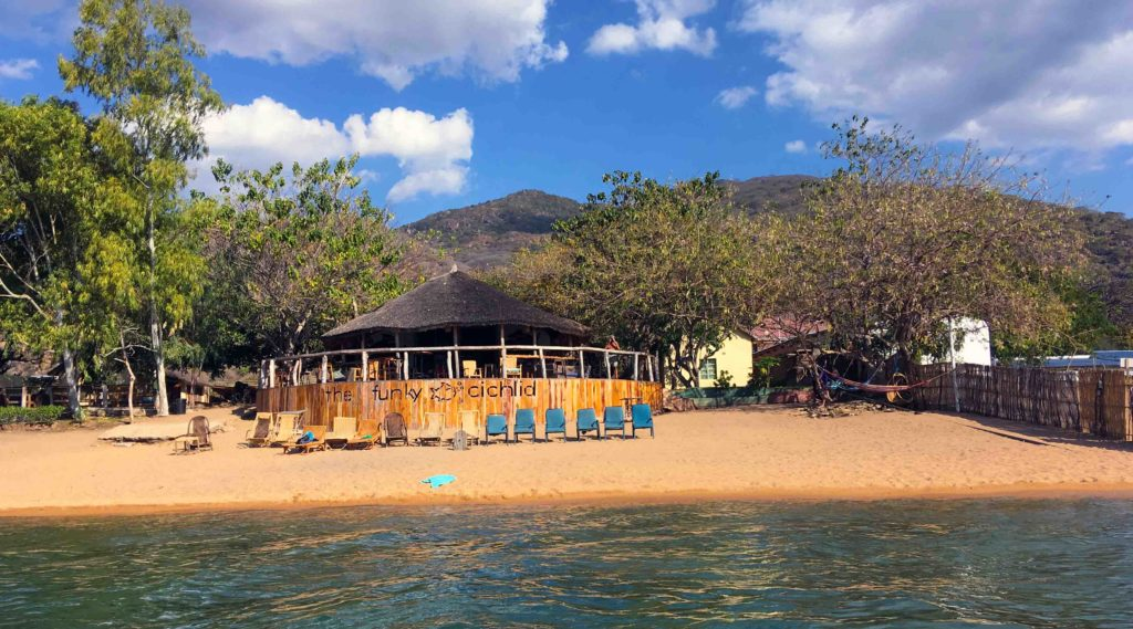 This is the beach at Cape Maclear and the vibrant hostel The Funky Cichlid.