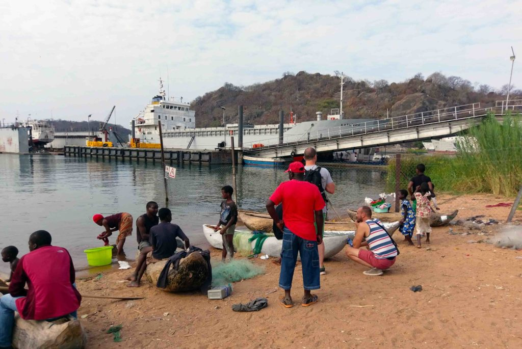 This is the harbour of Monkey Bay at Cape Maclear in Malawi. Ilala Ferry is starting from there. Besides that the locals prepare their boats for fishing.