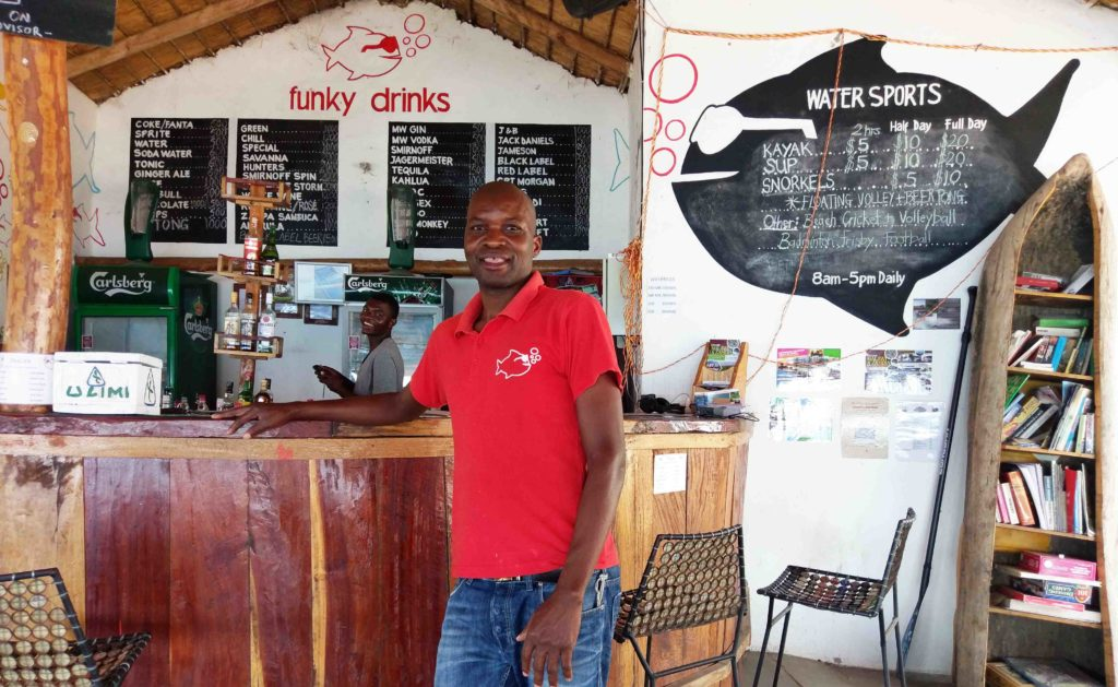 This is Samson from Cape Maclear Malawi. He is a chef at a restarant in a hostel at Cape Maclear Malawi.