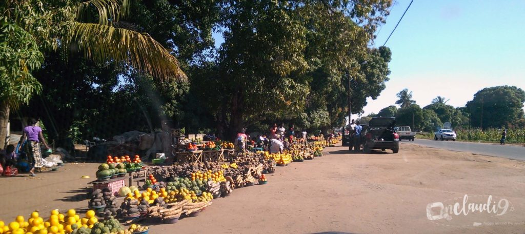 These are fresh fruits and vegetables which you can buy on the streets when driving Mozambique.