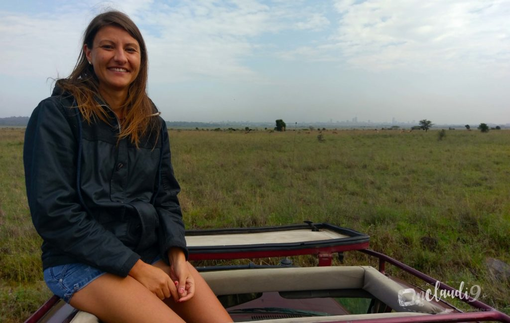 This is at Nairobi National Park. In the back you can see the skyline of Nairobi.
